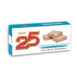 "Torrone imperiale con mandorla senza zucchero ""25"" 200 gr."