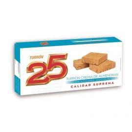 """Torrone alla crema di mandorle senza zuccheri aggiunti """"25"""" 200 gr."""